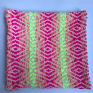 CB2 pink/neon yellow accent pillow cover 16x16